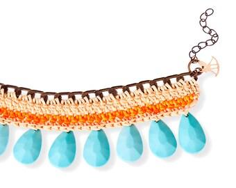 Colorful Hippie Bracelet, Turquoise Drop Bead chrocet Cuff Bracelet