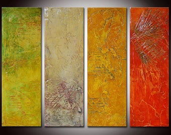 Original Abstract Painting Colorful Large Art, Painting on Canvas, Orange Red Green, Huge Wall Art, Textural Painting, Modern Decor