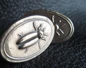 Bronze Cufflinks With Firefly Lightning Bug Insect Motif Custom Design - EXAMPLE