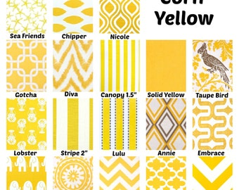 Yellow Decorative Throw Pillow Covers, Cushion Covers Yellow White, Decorative Pillows, Couch Bed Sofa, Mix & Match Set of Two 16 x 16