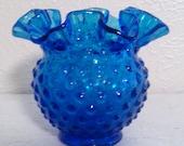 Vintage Fenton Blue  Artglass Vase