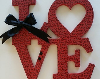 Wooden Letters LOVE Sign, Connected wood letters, Love with heart, Customized colors, 12 inch by 12 inch, Valentines, Home Decor, Wedding