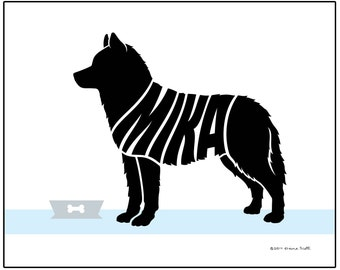 Personalized Siberian Husky Art Print, Custom Husky Dog Name Art, Dog Lover's Gift, Dog Memorial Gift