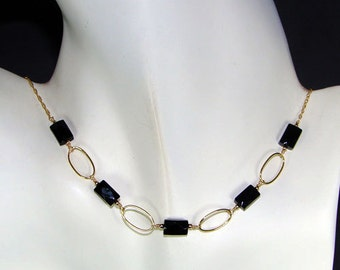 Golden Black Onyx Necklace - 12K Gold-filled chain and Oval Links Beaded with Faceted Gemstones