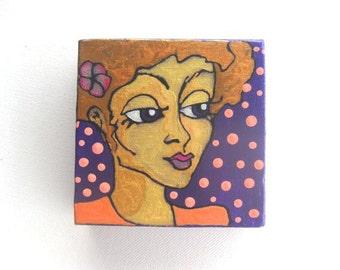 Dot - tiny original painting 4x4x1.5