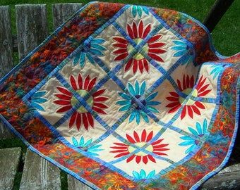 Handmade table topper, baby quilt, lap quilt, wall hanging, quilted throw