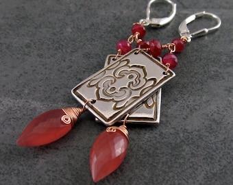 Art Deco ruby earrings, handmade eco friendly fine silver, rhodocrosite & rose gold filled earrings-OOAK