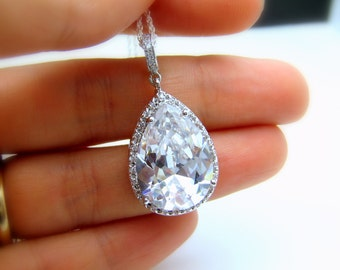 wedding jewelry bridal necklace christmas gfit bridesmaid gift pageant rhodium Sterling silver pave AAA cubic zirconia teardrop pendant