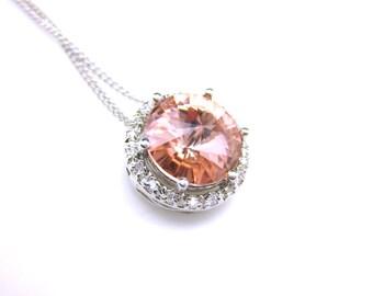 Bridal necklace bridesmaid wedding gift necklace Sterling silver necklace round swarovski rivoli vintage rose blush pink rhinestone pendant