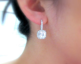 wedding jewelry bridal jewelry wedding earrings bridal earrings prom clear white square cushion princess cut cubic zirconia hook