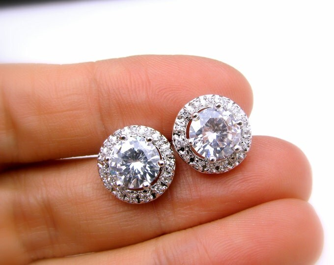 SALE set of 4 5 6 7 8 pairs bridal wedding bridesmaid gift earrings round halo cubic zirconia luxury post white gold silver earrings stud