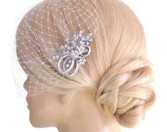 BIRDCAGE VEIL ,bridal comb, (2 items),bridal veil wedding, Bridal Hair comb,,bridal head piece,bridal hair accessories