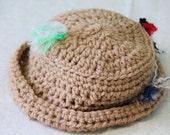 Newborn boys/girls crochet tan fisherman hat