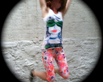 Hand Painted Face Tank Size L American Apparel Tank