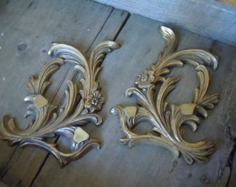 Autumn Gold Swirl Accents 1950s Plastic Vintage Decor Wall Hangings Romantic Chic Shabby Chic