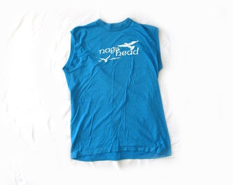 vintage tank top mens clothing 1980s turquoise nags head beach seagull size medium m large l