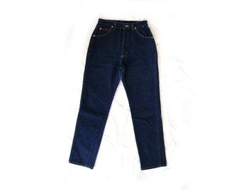vintage jeans 80s pants denim lee high waisted dark wash size 12 medium m