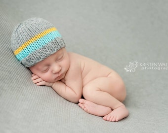 Knit Baby Hat, Photography Prop, Newborn Knit Beanie, Baby Hat, Newborn Photo Prop, Knit Photo prop, Photo Shoot Prop, Striped Hat, Boy Hat