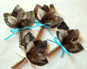 Camouflage Boutonniere- Camo Bride, green, tan taupe, brown - hhunting, rustic wedding, mens boys, Usher, Groom, Father, Best Man,Partner