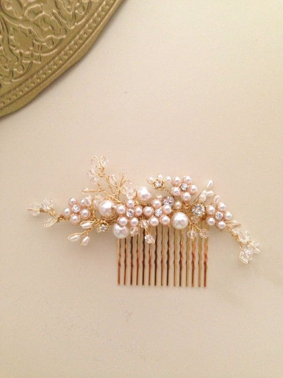Delicate Bridal hair comb fascinator crystals gold pearls Rhinestones Blush and Gold wedding One of a kind