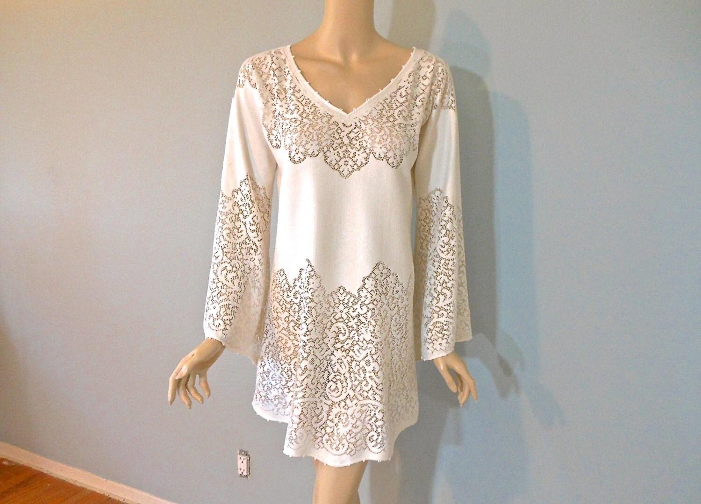 Ivory LACE Dress BoHo Short WEDDING Dress by MuseyClothing on Etsy