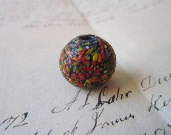 vintage handmade glass bead - black spatter glass, speckled, confetti - fused glass chips