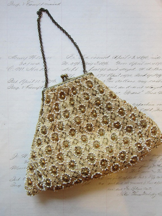 small vintage beaded purse brass frame lace with by