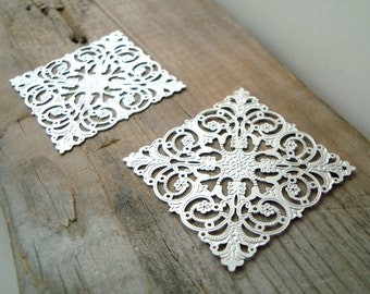 One Pair Of Silver Filigree Square Stampings - Cabochon Settings