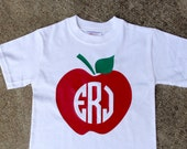 Preppy Apple Monogram Vinyl Pressed Back-To-School Tshirt