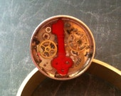 Clockwork Clutter with Red Key Steampunk Ring