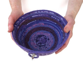 Coiled Basket Bowl Small Purple - Crone Gift - Purple Container Sewn Pottery - Off The Rag Gift Basket - Menopause Ritual