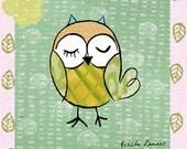 Art Print, illustration, Green,Owl,