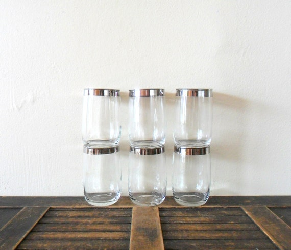 vintage mad men chic silver rimmed whiskey glasses - set of six - midcentury bar - fathers day gift