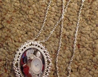 Original Photography Buttons  Glass Dome Cameo Necklace