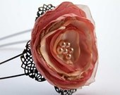 Wedding bridal flower girl head band in dusty pink, peach and gold with lace and beads