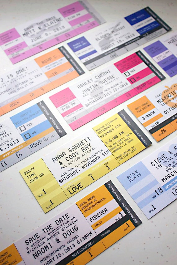 Concert Ticket Invitations Single Sided with Envelopes – Concert Ticket Invitations