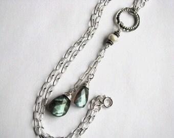 Labradorite, Pearl and Sterling Silver Necklace