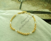 Chainmaille Gold plated anklet with Swarovski Crystal