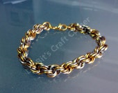 Double Chain Weave-Chainmaille bracelet- Men's Chainmaille-Two Tone Bracelet-Men's Jewlery