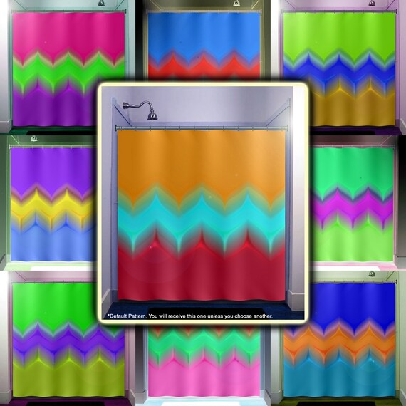 Items Similar To Multi Color Tulip Stripe Chevron Shower Curtain Bathroom Dec