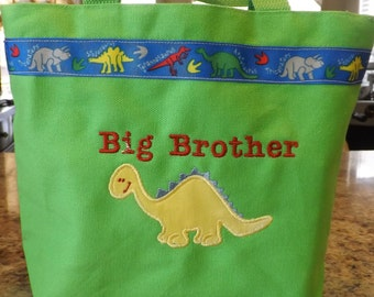 Big Brother tote bag-Green-Dinosaur themePersonalized with name at no additional charge