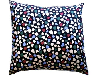 "Bleeding Hearts European Cushion Cover : Alannah Hill Fabric Black Red Cream Purple Print 65cm 25"" Large Square"