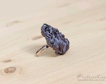 Dark grey fabric ring, textile ring, ruffled ring, fabric jewelry, textile jewelry, fiber ring, Unique Gift for Her