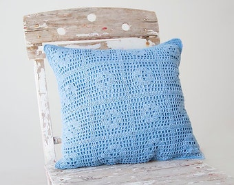 Serenity blue hand dyed Crochet Vintage Pillow Cover