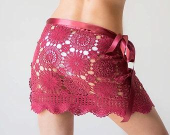 Crochet beach skirt, crochet cover up, dark red skirt, wrap  skirt