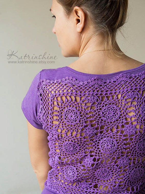 Lavender tshirt with upcycled vintage crochet doily by for Vintage sites like etsy