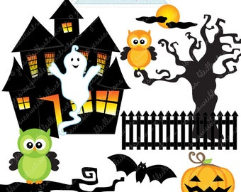Haunted House Cute Digital Clipart - Commercial Use OK - Halloween Clipart, Halloween Graphics, Digital Art