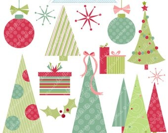O Merry Trees Cute Digital Clipart - Commercial Use OK - Christmas Clipart, Christmas Graphics