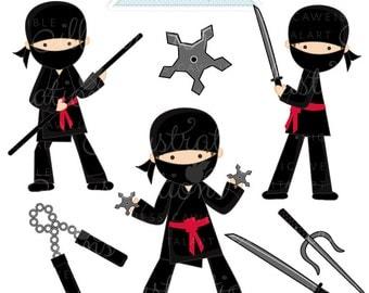 Ninja Cute Digital Clipart - Commercial Use OK - Ninja Graphics - Ninja Clipart, Martial Arts