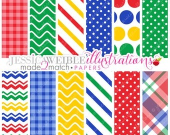 MacDonalds Farm Cute Digital Papers - Commercial Use OK - Gingham Digital Backgrounds, Primary Color Papers